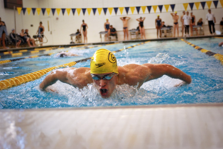 Phillip Graeter swims a leg of the 200-yard butterfly during a dual-meet against Old Dominion. Graeter finished first in the fly, as well as taking the top spot on the podium in the 200-yard backstroke and 200-yard individual medley races.