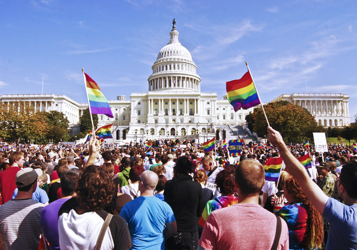 Demonstrators assemble on the West Lawn of the United States Capitol after marching down Pennsylvania Avenue from the White House during the National Equality March in 2009.