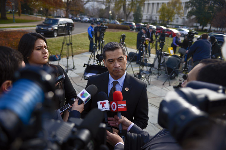 Rep. Xavier Bercerra, the Chairman of the House Democratic Caucus and highest-ranking Latino in the party, speaks with Spanish-language media outlets. He declared Democrats' unfettered support for the President's recently announced executive actions on immigration, which expanded the number of undocumented people eligible for deferred deportation as well as ordering immigration enforcement agencies to focus on criminals.