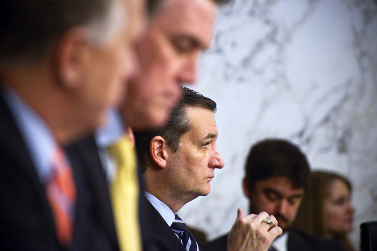 Ted Cruz attends the Senate Judiciary Committee confirmation hearings on Loretta Lynch, President Obama's Attorney General nominee. When Lynch expressed her belief that the President's executive immigration orders were legal, Cruz emerged as one of the most voracious opponents of her nomination. He declared his intention to torpedo her confirmation over the issue. While many other Republicans remained uncommitted to Lynch for weeks, she was eventually confirmed 56-43.