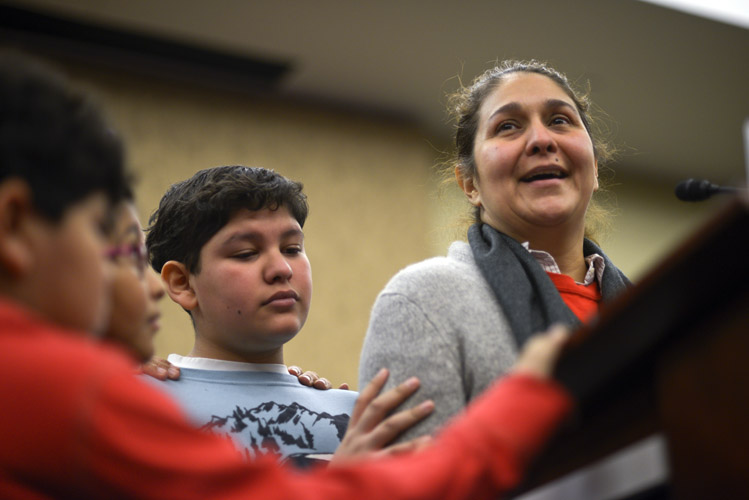 With funding for the Department of Homeland Security scheduled to run out, the House scheduled legislation that funded the department with amendments that gutted Obama's immigration orders. During a press conference with House Democrats, Isabel Aguilar passionately implores the House to a reject any attempt to block the deferred deportations. She stands with her three children – Emillo, Miranda, and Adolfo – whom she brought to the United States illegally and would benefit from a change in policy.