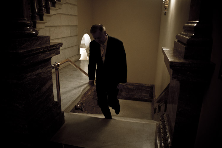 Lindsey Graham walks up the stairs and towards the Senate for an early morning vote on funding for the Homeland Security Department. Graham, one of the most prominent hawks in the Senate, had been dropping hints for months that he would launch a national campaign. Graham based his candidacy on his foreign policy credentials in a move many perceived as a stark contrast to Rand Paul's libertarian beliefs.