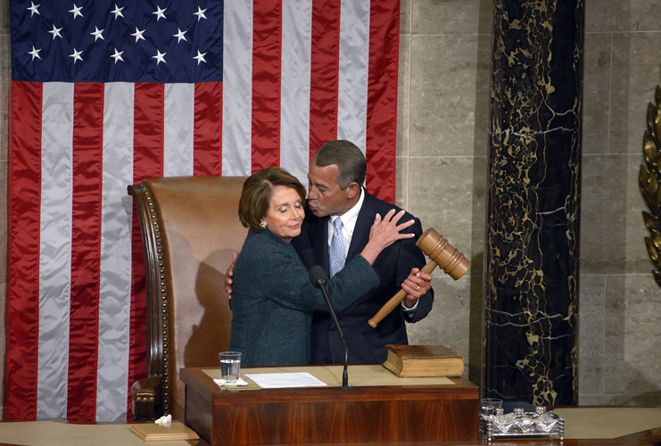 John Andrew Boehner is elected as Speaker of the House after one ballot. Rep. Nancy Pelosi, as the minority leader, ceremonially hands over the gavel to Boehner to start off the term.