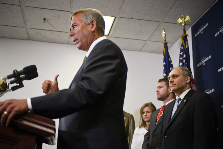 The first few weeks for the House GOP leadership were mired in some controversy after it was revealed that early in the career of Majority Whip Steve Scalise, he spoke before a group associated with white supremacist David Duke. Scalise apologized and said he had not properly vetted the organization. Boehner tells reporters that he accepts the apology and pledges his confidence in Scalise.