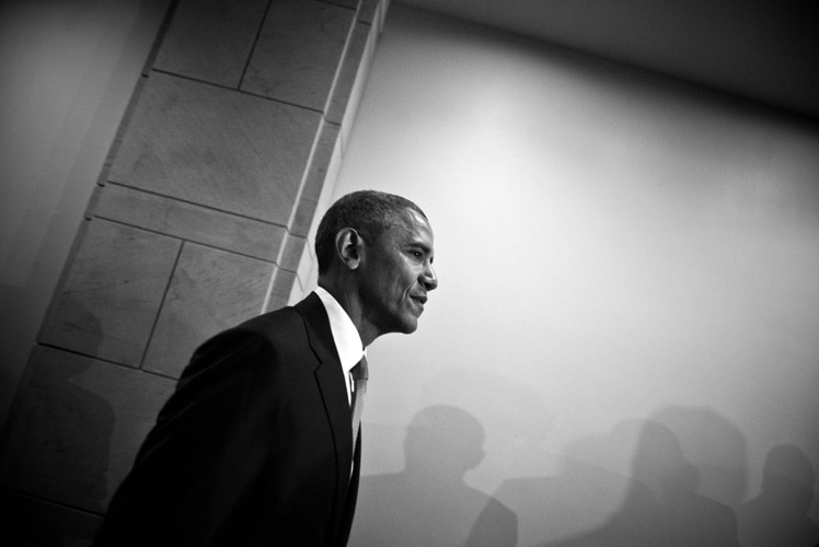 President Barack Obama departs from the Capitol following a meeting with House Democrats. The President visited in the eleventh-hour before a series of votes on the his request for fast-track authority to negotiate the Trans-Pacific Partnership trade pact. Obama pleaded with his caucus not to vote down the legislative trade package despite members' reservations on the impact it would have on American workers.